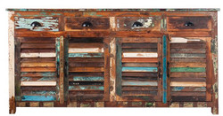 Casa Padrino Designer Sideboard Mehrfarbig  B.180 x H.100 x T.45 - Fernsehschrank - Kommode - Handgefertigt - Massivholz