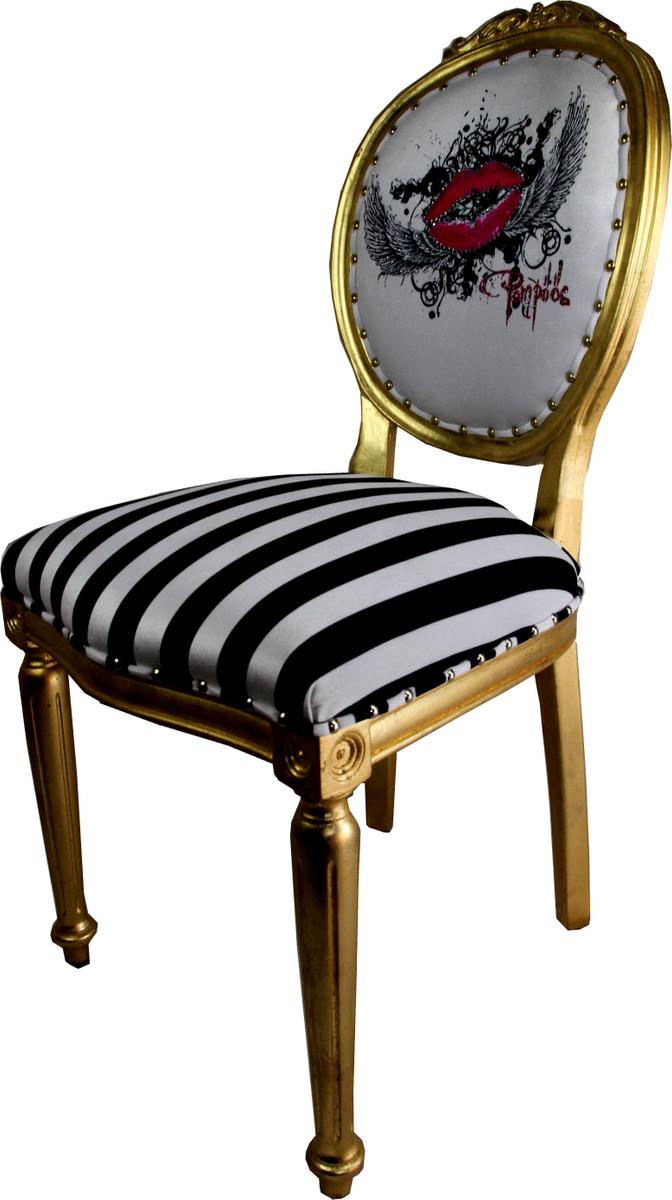pomp s by casa padrino luxus barock esszimmer stuhl schwarz wei streifen gold pink lips. Black Bedroom Furniture Sets. Home Design Ideas