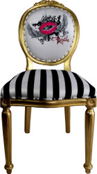 Pompöös by Casa Padrino Luxury Baroque Dining Chair Black / White Stripes / Gold - Pink Lips - Pompööser Baroque Chair designed by Harald Glööckler