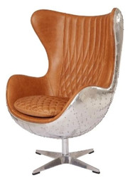 Casa Padrino Genuine Leather Egg Chair Brown / Silver 87 x 77 x H. 116 cm - Luxury Swivel Armchair
