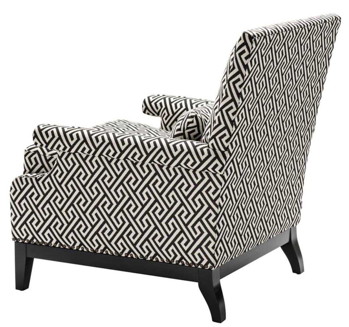 Casa Padrino Luxus Sessel Schwarz Weiß 75 X 85 X H 93 Cm Hotel