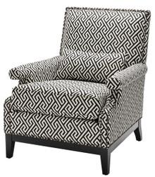 Casa Padrino Luxury Armchair Black / White 75 x 85 x H. 93 cm - Hotel Furniture