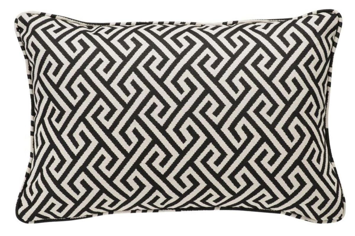 Kissen Wohnzimmer Deko ~ Casa padrino luxus kissen schwarz weiß 40 x 60 cm wohnzimmer