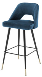 Casa Padrino luxury bar stool blue / black 50 x 50 x H. 100 cm - Luxury Bar Stools with Backrest