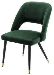 Casa Padrino luxury dining chair green / black 52 x 58 x H. 85 cm - Luxury Dining Room Furniture