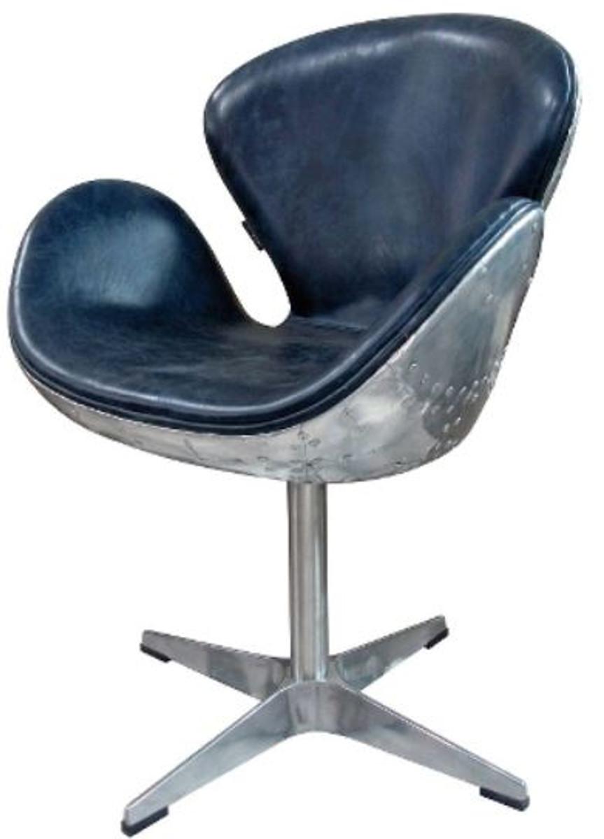 Casa Padrino Luxus Echtleder Bürostuhl Blau / Silber 72 X 63 X H. 91 Cm   Designer  Büromöbel