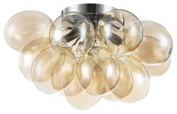 Casa Padrino ceiling lamp cognac / silver 38 x 38 x H. 25 cm - Living Room Ceiling Lamp