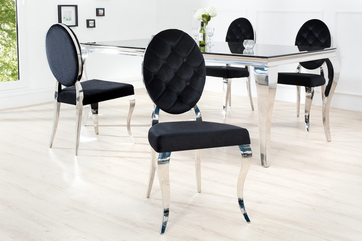 Sedia da pranzo design di design padrino nera argento senza