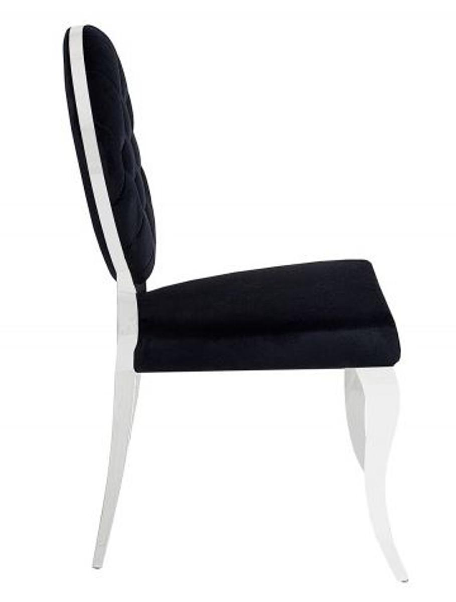 Casa Padrino Designer Esszimmer Stuhl Schwarz / Silber Ohne Armlehne   Designer  Stuhl U2013 Bild 5
