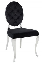 Casa Padrino designer dining chair black / silver without armrest - designer chair