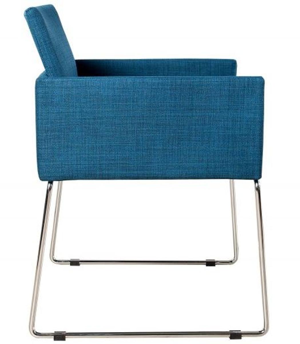 Casa Padrino Designer Stuhl Mit Armlehnen Blau 55cm X 80cm X 60cm