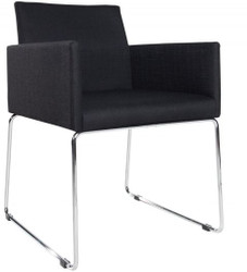 Casa Padrino designer chair with armrests Black 55cm x 80cm x 60cm - Office furniture