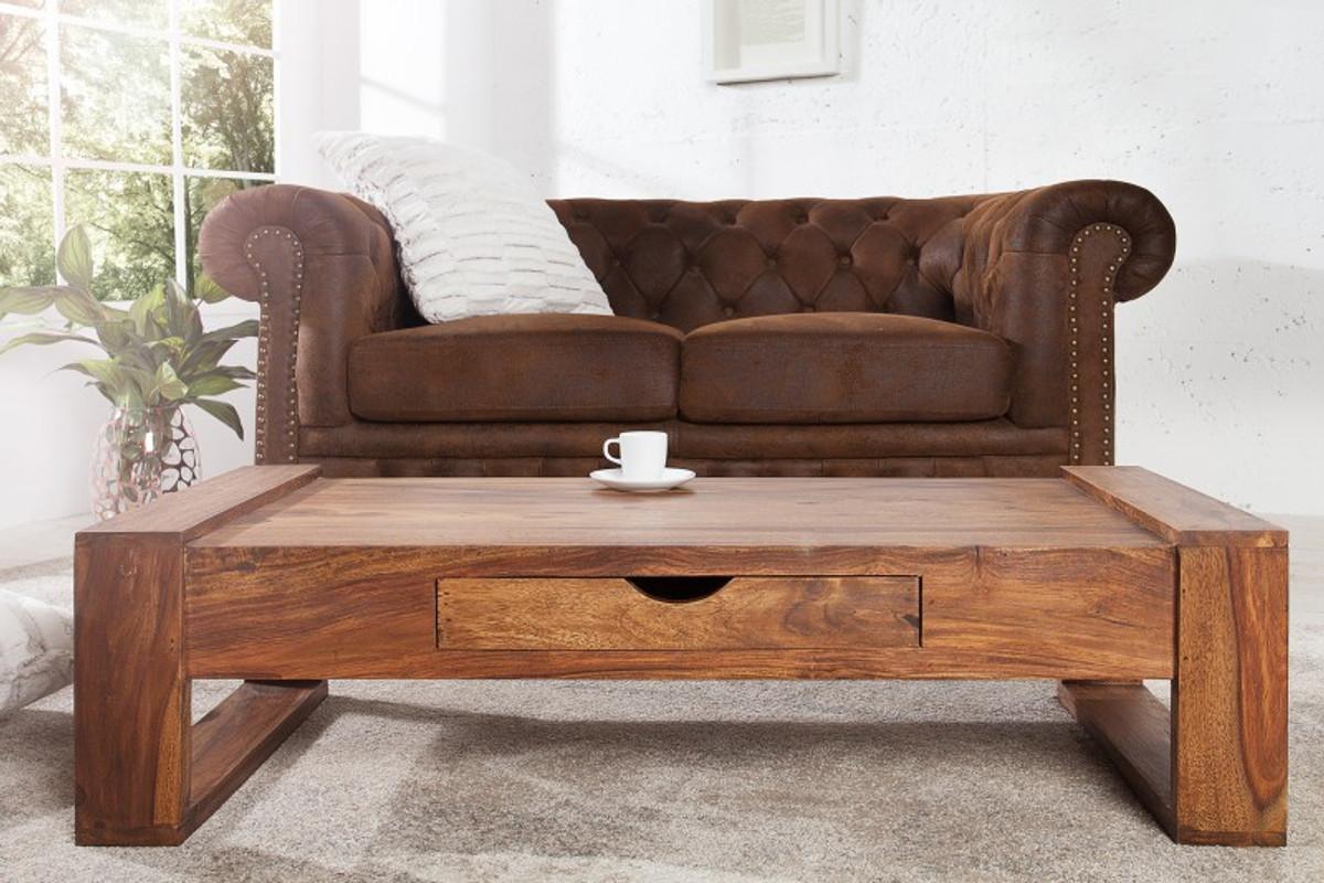 Casa Padrino Designer Massivholz Couchtisch Natur 100 X H 30 Cm