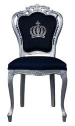 Pompöös by Casa Padrino luxury baroque dining chair black / silver - Pompöös baroque chair designed by Harald Glööckler