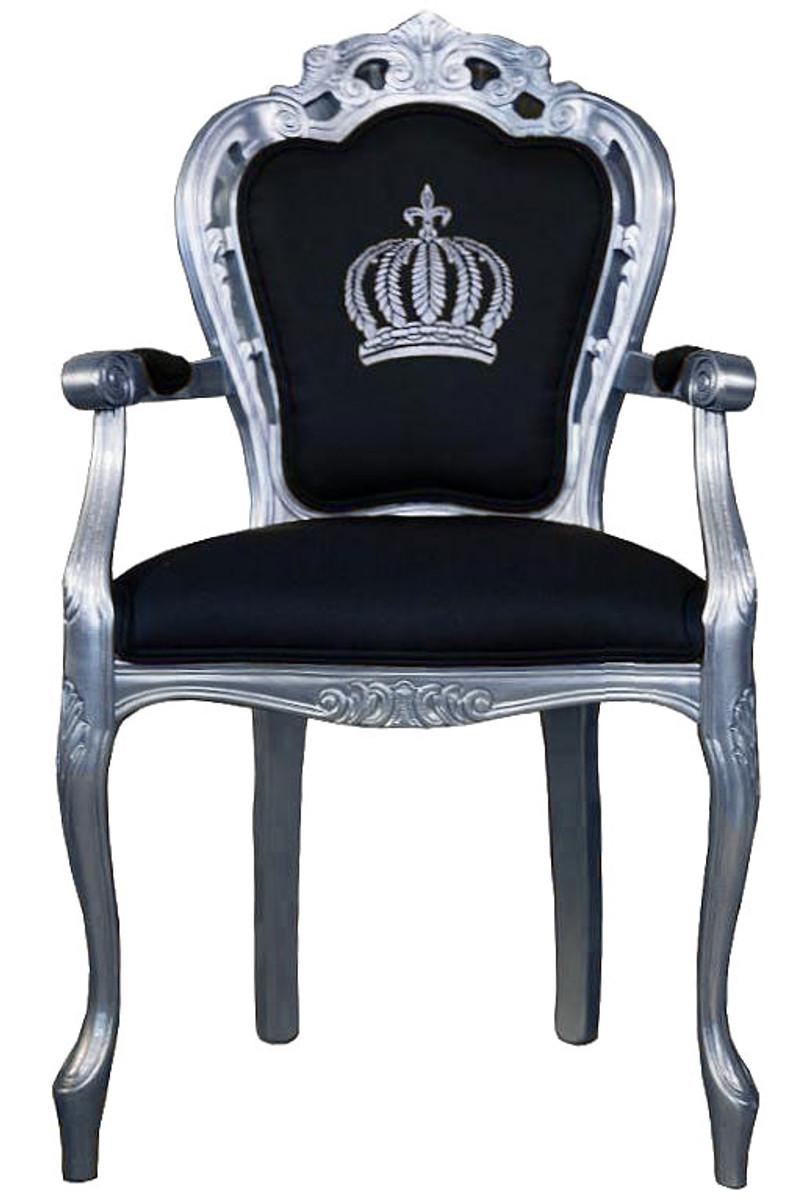 pomp s by casa padrino luxus barock esszimmerstuhl mit armlehnen schwarz silber pomp ser. Black Bedroom Furniture Sets. Home Design Ideas