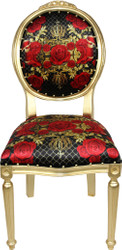 Pompöös by Casa Padrino Luxury Baroque Dining Chair Black / Red / Gold - Rose - Pompööser Baroque Chair designed by Harald Glööckler