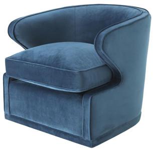Casa Padrino Wohnzimmer Sessel / Drehsessel Blau 75 x 80 x H. 73 cm - Luxus Wohnzimmermöbel – Bild 1