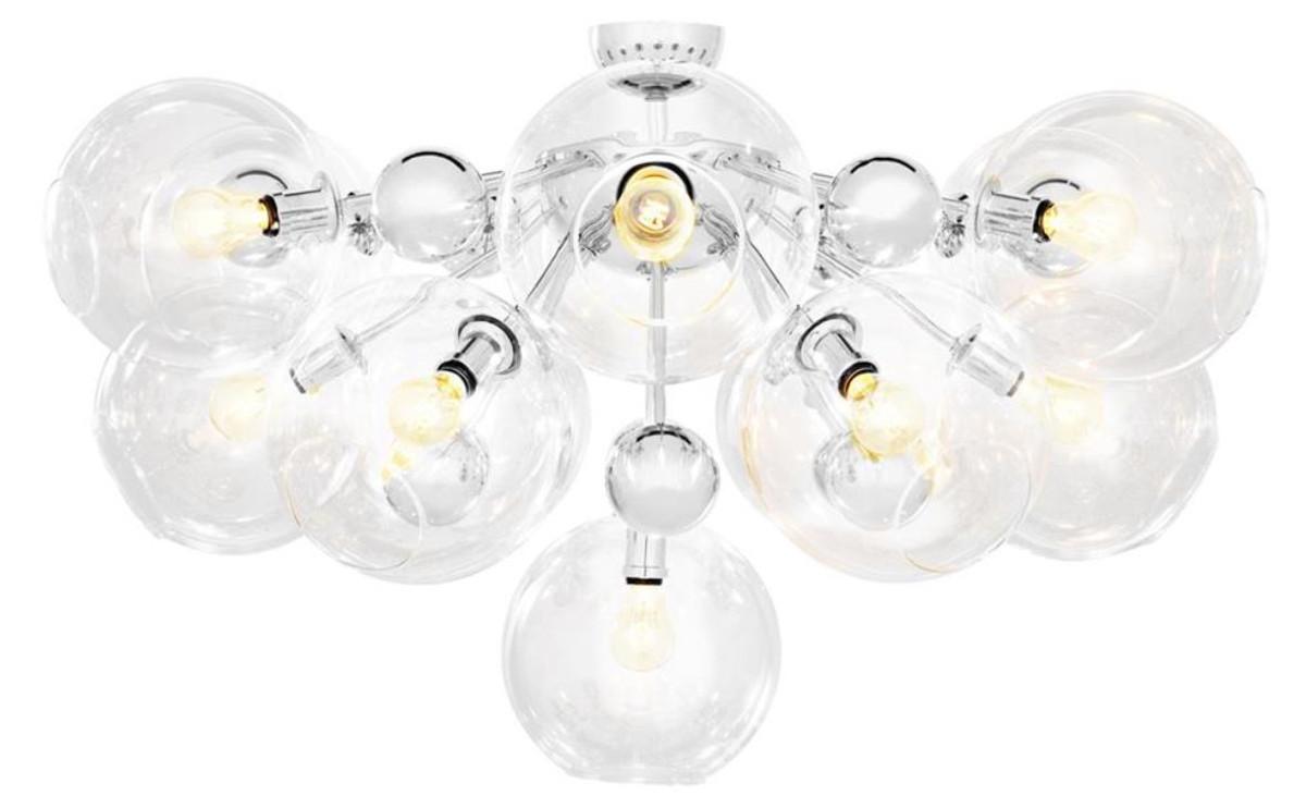 Casa Padrino Luxus Deckenleuchte Silber ø 90 X H 57 Cm Luxus