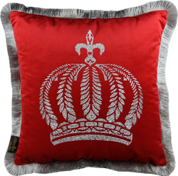 Harald Glööckler luxury decorative pillow Pompöös by Casa Padrino red / silver crown with rhinestones - Glööckler pillow