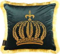 Harald Glööckler luxury cushion Pompöös by Casa Padrino dark green / gold crown with rhinestones - Glööckler cushion