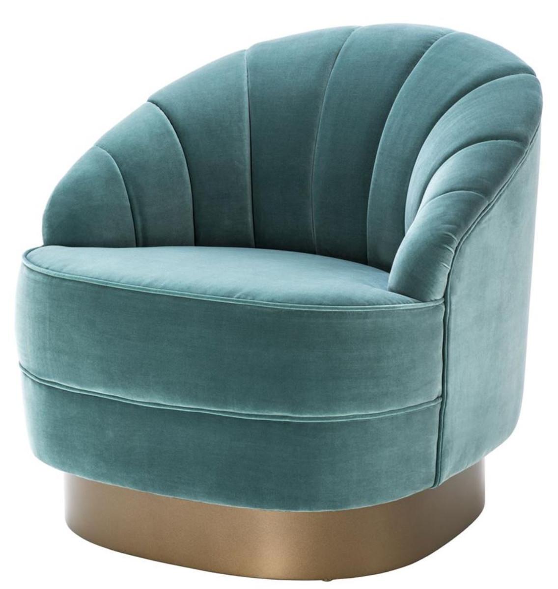 Casa Padrino Luxury Armchair Dark Turquoise Matt Gold 77 X