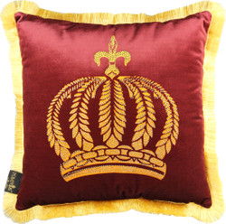 Harald Glööckler Luxury Throw Pillow Pompöös by Casa Padrino Bordeaux / Gold Crown with Rhinestones - Glööckler Pillow