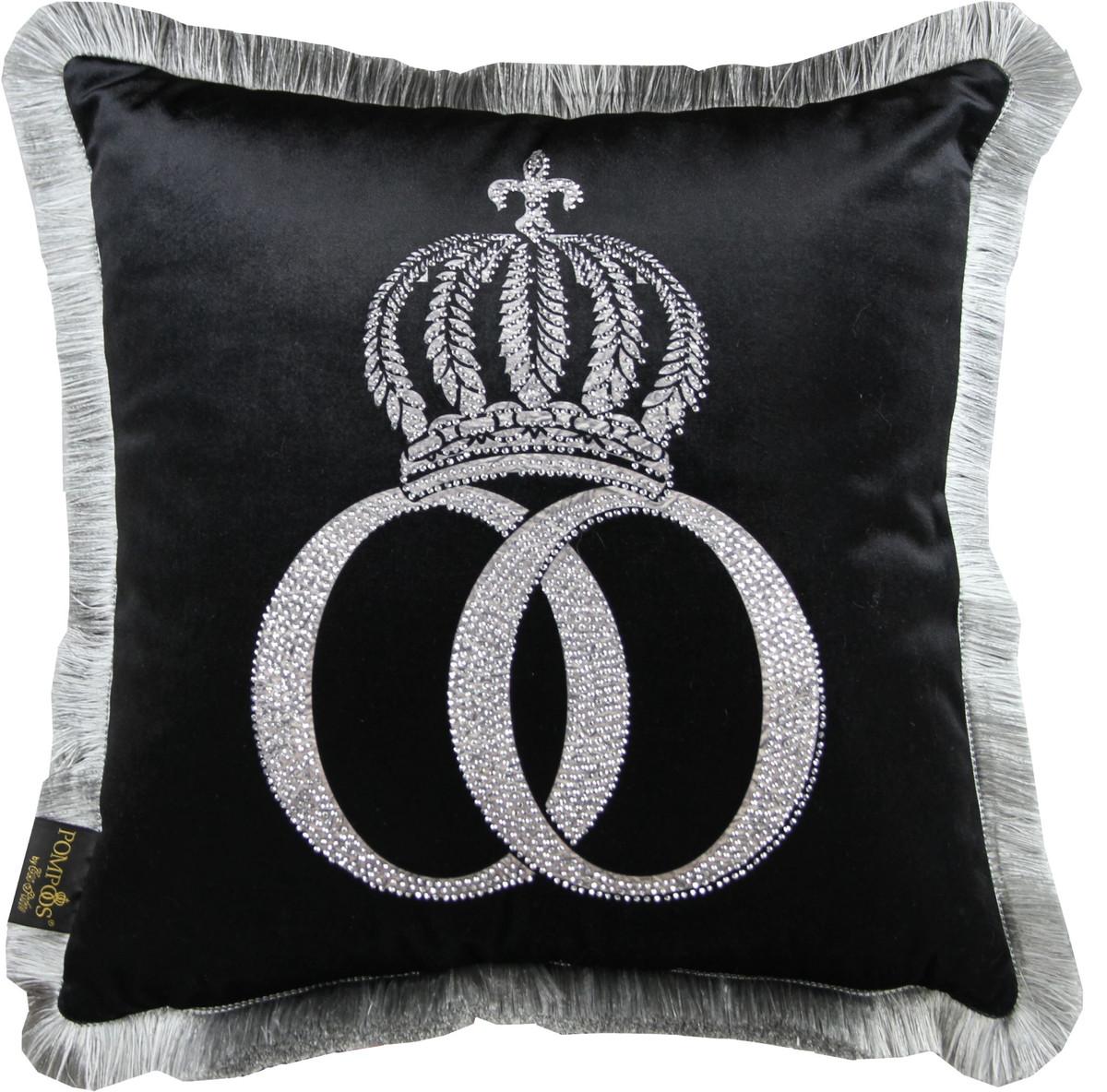 harald gl ckler luxus deko kissen pomp s by casa padrino schwarz silber krone mit strass. Black Bedroom Furniture Sets. Home Design Ideas