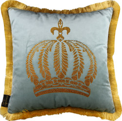 Harald Glööckler luxury decorative pillow Pompöös by Casa Padrino light turquoise / gold crown with rhinestones - Glööckler pillow