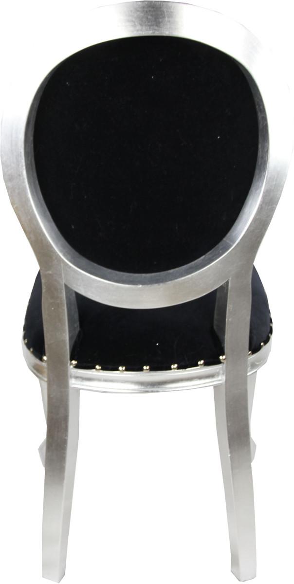 pomp s by casa padrino luxus barock esszimmer stuhl schwarz weiss silber pomp ser barock. Black Bedroom Furniture Sets. Home Design Ideas