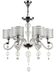 Casa Padrino Baroque Style Chandelier 6-Flames Silver Ø 71 x H. 68 cm - Baroque Luster