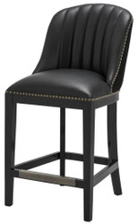 Casa Padrino Bar Chair Black 49.5 x 61 x H. 105 cm - Luxury Bar Stool with Backrest