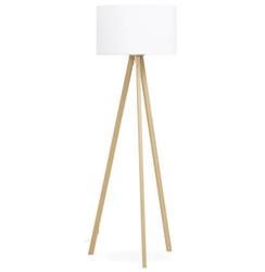 Casa Padrino Studio Stehleuchte Naturholzfarben / Weiß mit 3 Beinen 159 x 55 cm