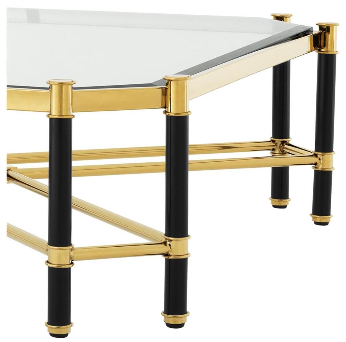 Casa padrino luxus couchtisch gold schwarz 115 x 115 x h for Luxus couchtisch