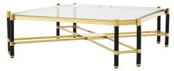Casa Padrino Luxus Couchtisch Gold / Schwarz 115 x 115 x H. 35,5 cm - Limited Edition