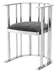 Casa Padrino Designer Stuhl mit Armlehnen Silber / Dunkelgrau 54,5 x 53 x H. 68 cm - Designermöbel