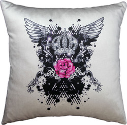 Harald Glööckler luxury decorative pillow Pink rose Pompöös by Casa Padrino cream / black Mod2 crown with rhinestones - Glööckler pillow
