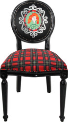 Casa Padrino Baroque Luxury Dining Chair without Armrests Scotland Check / Black Woman - Designer Chair - Limited Edition