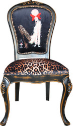 Casa Padrino Baroque luxury dining chair Leopard / Black / Brown lady with high heels