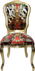 Pompöös by Casa Padrino Luxury Baroque Dining Chair Black / White / Red / Gold Crown - Pompööser Baroque Chair designed by Harald Glööckler