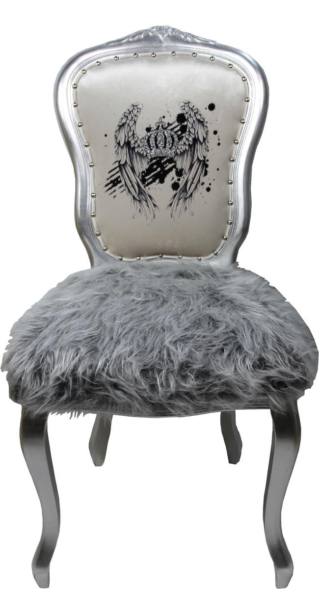 pomp s by casa padrino luxus barock esszimmer stuhl kunstfell silber weiss krone mit. Black Bedroom Furniture Sets. Home Design Ideas