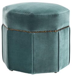 Casa Padrino luxury stool dark turquoise / antique brass 46 x 46 x H. 44 cm - Luxury Seat Stool
