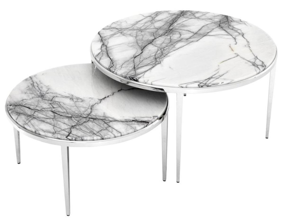 Casa Padrino Luxus Couchtisch 2er Set Silber Weiss Wohnzimmermobel