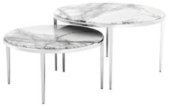 Casa Padrino Luxus Couchtisch 2er Set Silber / Weiß - Wohnzimmermöbel