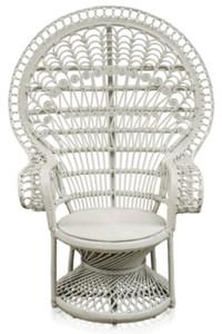 Casa Padrino Luxus Rattan Sessel Weiß 114 x 80 x H. 150 cm - Vintage Möbel – Bild 1