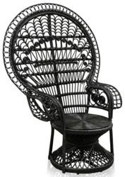Casa Padrino luxury rattan armchair black 114 x 80 x H. 150 cm - Vintage Furniture