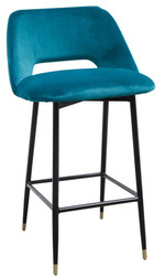 Casa Padrino luxury bar chair turquoise / black 55 x 58 x H. 97 cm - Luxury Bar Furniture