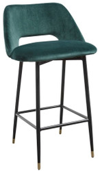 Casa Padrino luxury bar chair green / black 55 x 58 x H. 97 cm - Luxury Bar Furniture