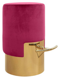 Casa Padrino luxury bar stool raspberry colors / gold Ø 46 x H. 76 cm - Bar Furniture