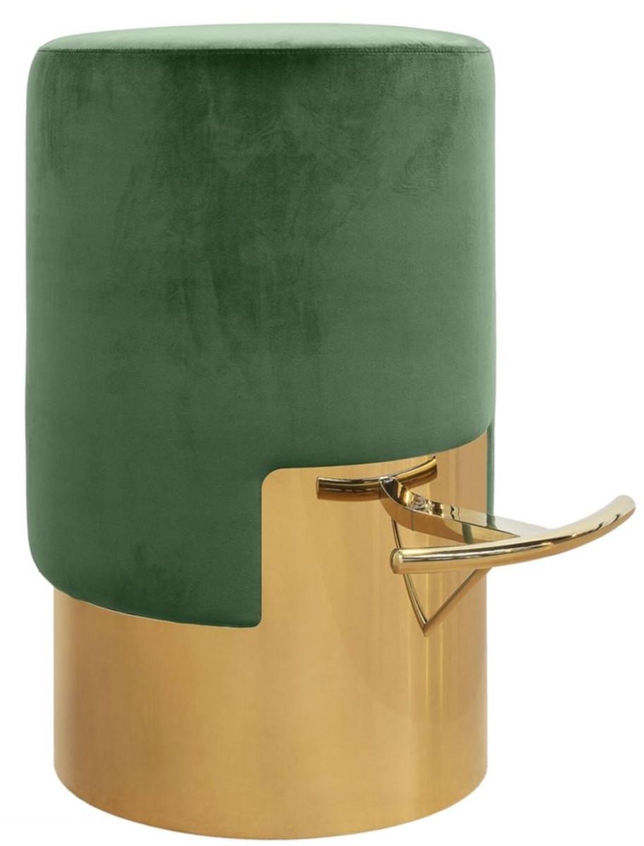 Casa Padrino Luxus Barhocker Grun Gold O 46 X H 76 Cm Barmobel