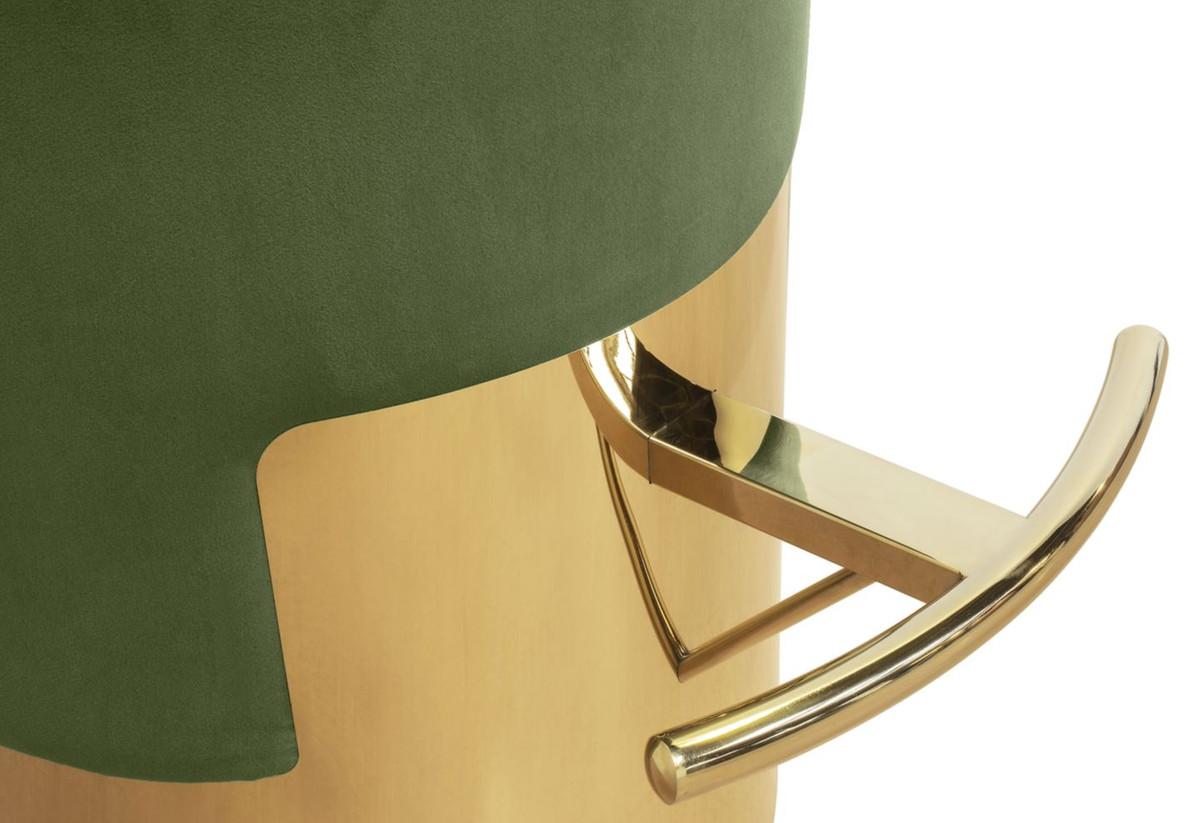 Casa Padrino Luxury Bar Stool Moss Green Gold 216 46 X H